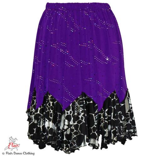 Purple with Sequins/Silver Lightening Tango Skirt