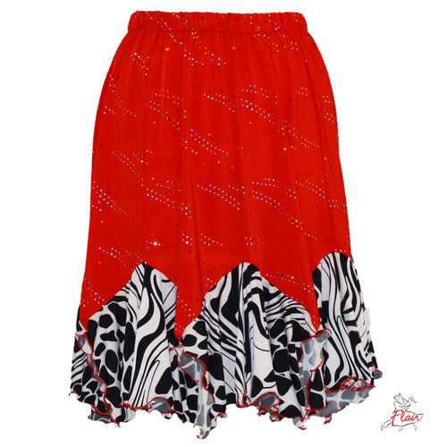 Red with Sequins/Black & White Tango Skirt