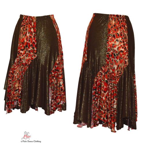 Red Brown Cheetah Tango Skirts