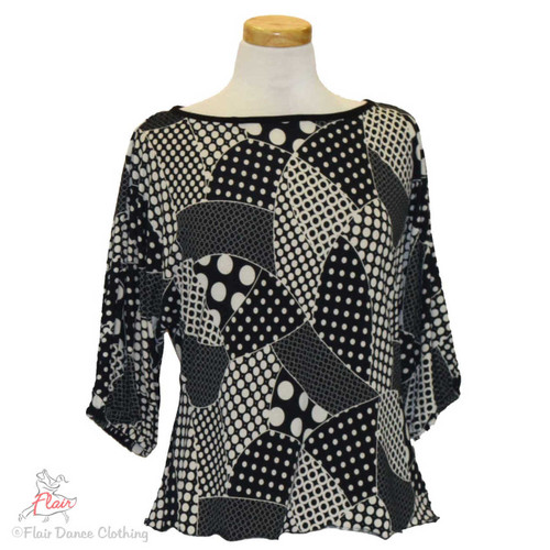 Black and White Dot Patches Domlan Sleeve Blouse