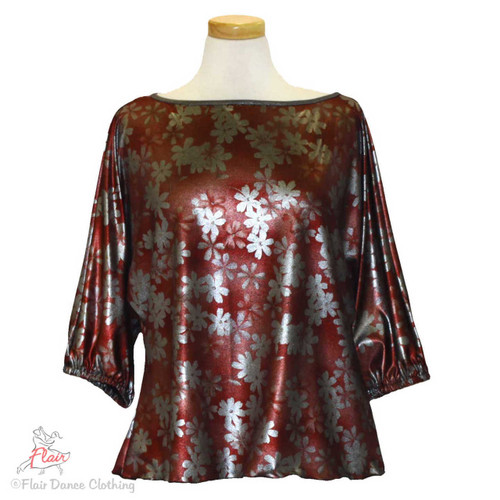 Red Silver Metallic Domlan Sleeve Blouses