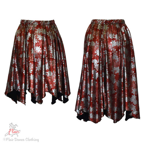 Red Silver Metallic Floral Hanky Hem