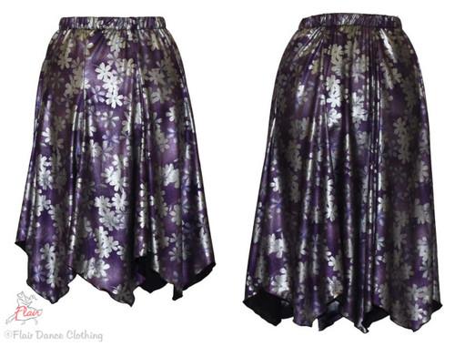 Purple Silver Metallic Floral Hanky Hem