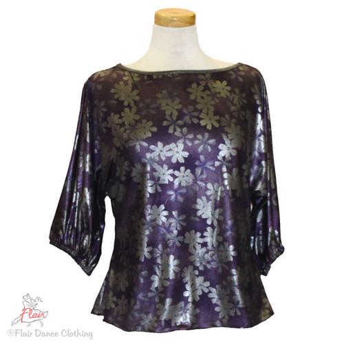 Purple Silver Metallic Domlan Sleeve Blouses
