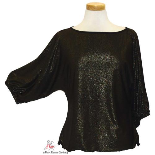 Black Shimmer Domlan Sleeve Blouses