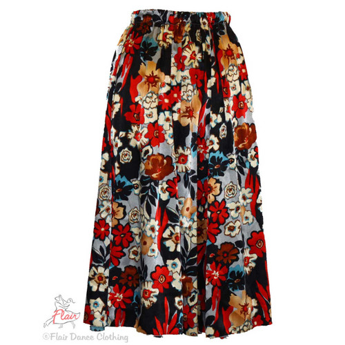 Red Grey Black Floral Silky Ronde Skirts