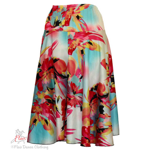 White & Bright Silky Floral Yoke Skirts