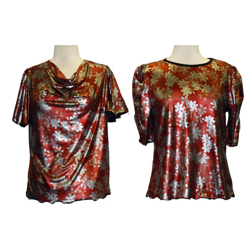 Red Silver Metallic Foil Blouses