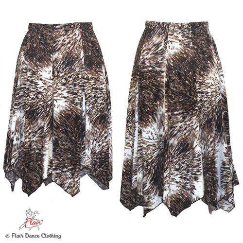 Taupe Burst Deux Hanky Hem Skirt