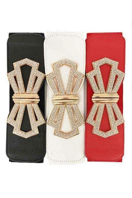 Fancy Bow Buckle Belt w/Rhinestones