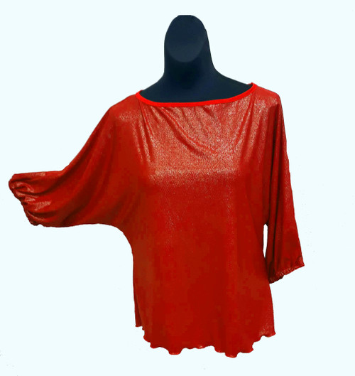 Red Shimmer Domlan Sleeve Blouses