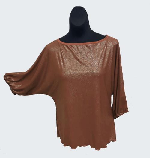 Brown Shimmer Domlan Sleeve Blouses