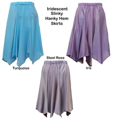 1320 Iridescent Turquoise Hanky Hem Skirts