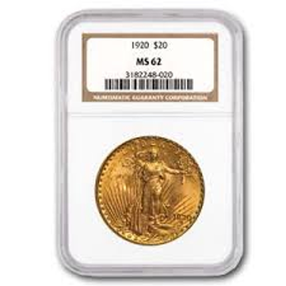 NGC/PCGS MS62 $20 St. Gaudens Gold Coin
