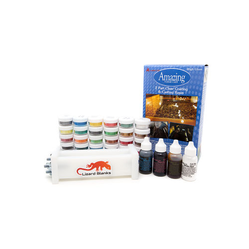 Alumilite Epoxy and Dye set with Caster's Choice Mica Powders and Lizard Blank Mould.