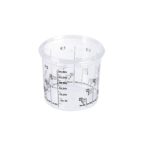 Resin mixing cup with measurements.