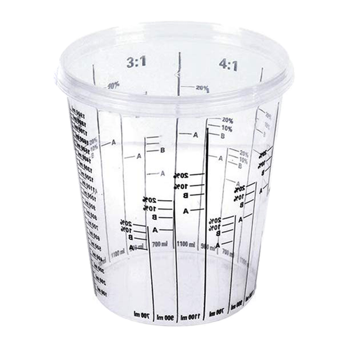 Extra large resin mixing cup with measurements.