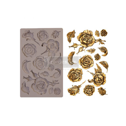 """Re•Design Decor Mould by Prima - Fragrant Roses 5x8"""" With examples"""