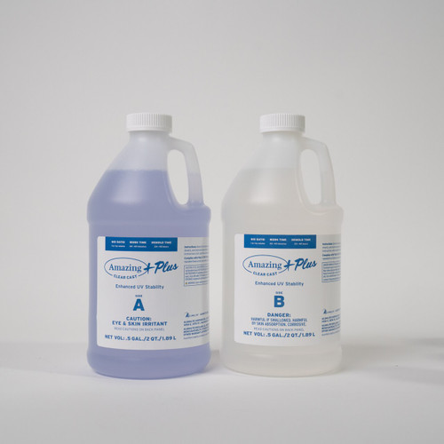 Amazing Clear Cast PLUS + is available in 4 different sizes.  This is the 1 US Gallon (3.75 litre/approx 4 kg).  This comes in 2 parts; 64oz part A and 64oz part B.