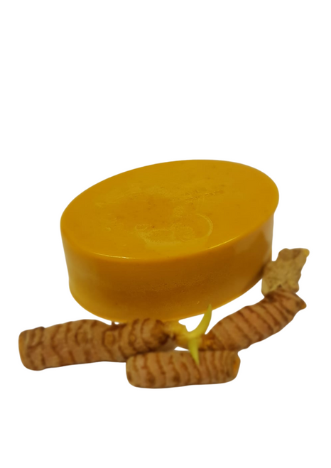 Turmeric Soap help reduce acne and any resulting scars, Glowing skin,  Lightens pigmentation,Imperfections and skin lightening Compositions: Shea butter,  Glycerine , turmeric powder, vitamin E, olive oil, Tea tree oil and coconut oil