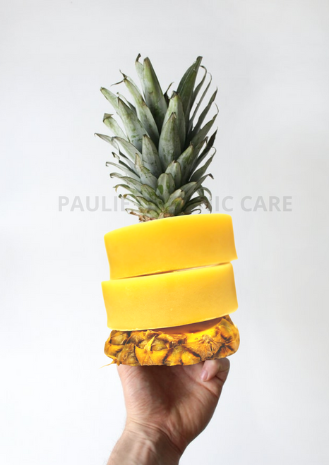 Pineapple Beauty Soap / Ananas tvål  ( Savon  Ananas )   Cleanse the skin by dissolving blackheads and dead cells from the skin's surface.     Used for acne and to prevent acne. Softens skin. Skin brightning. Help make the blemishes fade.   Ingerdients: Shea Butter, Cacao butter Pineapple fruit, Pineapple oil, Vitamin E , Olive oil, ,Glycerin