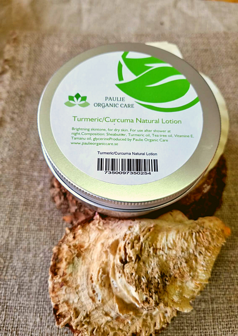 Turmeric/Curcuma Natural Lotion (8,5 oz)   Brightning skintone, for dry skin. For use after shower in the morning as well as at night.   Composition: Sheabutter, Turmeric oil, Tea tree oil, Vitamine E, Tamanu oil, glycerine, it has a high content of pro- Vitamin A, among which the carotenoids dominate.   If you have pigmentation and discoloration then using turmeric will surely help. Turmeric is said to lighten pigmentation and even out skin tone. Anti -inflammatory and antiseptic and ideal for treating eczema, and dry or irritated skin.