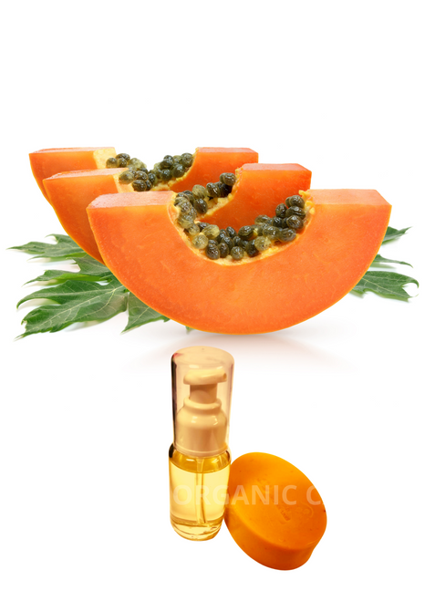 Paulie Papaya Glowing Kit  (ORGANIC)   1 kit contains one of each of the following items: Papaya Seed Oil: Exfoliating properties. Reduces scarring. Skin lightening. Heals blemishes. Gives skin a healthy glow. Anti acne. Good for oily skin.     Ingredients: Carica Papaya seed. Vitamine E. Vitamine C. This product has not tested on animals. Produced by Paulie Organic Care www.paulieorganiccare.se   Papaya Glowing Soap Moisturizes. Reduces wrinkles. Clears pigmentation. Heals blemishes. Gives skin a healthy glow. Controls acne breakout. Good for eczema   1. Facial masks  Papayas are rich in vitamins E and C along with an enzyme that can help to exfoliate your skin naturally. One way to use this natural exfoliation is to make facial masks to help keep your skin smooth and baby soft. When making facial masks at home you can add different ingredients such as oatmeal, pineapple, yogurt, egg whites, and clay with the papaya. • Oatmeal and papaya—peel and dice two slices of papaya. Add five tablespoon to the papaya after mashing it. Once mixed add the juice of one fresh lime and two egg whites. Mix well and apply it on your neck and face, leaving it on for fifteen minutes. Wash your face with warm water. These facial masks will moisturize and rejuvenate your skin.   2. Lighten your skin  Using the extracts of papaya can bring shine and glow to your skin because of the vitamin E in the papaya. When you first use it to lighten your skin , your skin may itch and feel irritated but after a few weeks it will stop and you will start to notice changes in your skin tone. It helps to peel off the cells and layers which are dark and dead. To get this effect you need to use papaya soap every day.   3. Facial cleanser  If you are experiencing problems with blemishes, dry skin tone, wrinkles, and pimples rub the white pulp from a papaya on your face for five to ten minutes, leave on for ten minutes, and then wash off with warm water. You will see youthfulness and a glow to your skin aft