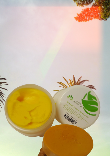 Turmeric/Curcuma lotion Kit , Kit includes 1 Turmeric/Curcuma lotion and 1 turmeric soap   For facial imperfections and skin lightening, acne Ingredients: Glycerine soap, turmeric powder, rose water, olive oil, honey, lemon and coconut oil   Brightning skintone, for dry skin. For use after shower in the morning as well as at night. Composition: Sheabutter, Turmeric oil, Tea tree oil, Vitamine E, Tamanu oil, glycerine, it has a high content of pro- Vitamin A, among which the carotenoids dominate.   If you have pigmentation and discoloration then using turmeric will surely help. Turmeric is said to lighten pigmentation and even out skin tone. Anti -inflammatory and antiseptic and ideal for treating eczema, and dry or irritated skin.