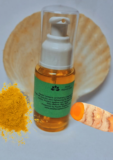 Paulie Turmeric oil Extract ( organic)  Fight off acne turmeric oil for skin lightening Reduces dark circles   Protect against sun damage & aging USE COMBINATION SOAP AND TURMERIC SOAP Reduce appearance of stretch marks (Experts recommend making your own stretch mark-healing paste with one tablespoon of extra virgin olive oil, one teaspoon of turmeric oil extract and, apply the mixture onto the affected areas twice a day. Soothe dry skin   To fade blemishes and marks  Paulie Turmeric oil Extract is often used in anti-marks and anti-spots creams. When used persistently, turmeric oil can fade away marks giving you a blemish-free skin. How to use Paulie turmeric oil extract for hair: 1. Get rid of dandruff naturally: Add a few drops of turmeric oil to a carrier oil such as neem oil (excellent for dandruff and eliminating lice) or castor oil(Palma Christi or lwil maskreti ayiti a). The powerful anti-inflammatory properties of turmeric oil help to keep dandruff at bay and soothe an irritated scalp.