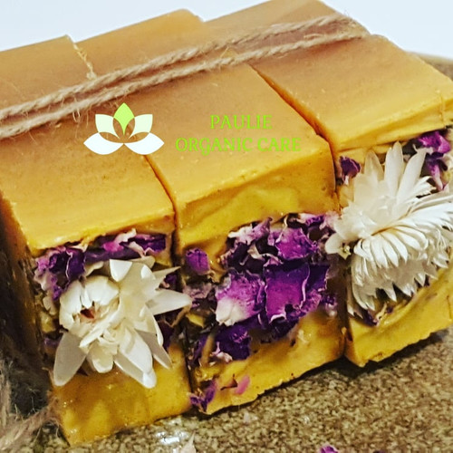 Paulie Turmeric Harbel Soap  Stay fresh and hygienic without resorting to chemilcals. Use Turmeric herbal soap Nature has provided us with the healing power of herbs which are natural ingredients without any harmful contents. Chemicals and dangerous elements in harsh soaps can damage your skin.  Benefits skin lightening, Fight off acne, Reduce dark circles, Protect against sun damage & aging Ingredients: Glycerine soap, turmeric powder,  olive oil, honey, lemon and coconut oil vitamin E