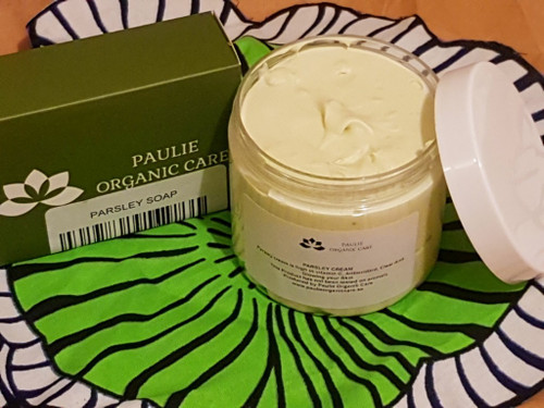 Parsley Soap  For blackheads, anti-wrinkles, anti-acne  Ingredients: glycerine soap, honey, rose water, lemon, parsley   PARSLEY CREAM  Parsley is one of the worlds favorite and most used herbs and for good reason. PARSLEY CREAM: is highin vitamin c, antioxydant. Clear acne and glowing your skin. Which protect our skin from free radical damage and delay the signs of aging like fine lines and wrinkles. PARSLEY CREAM may reduce your skin blemishes.  Ingredients: Parsley oil, vitamin e, tea tree oil, glycerin oil parsley butter