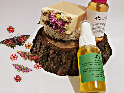 PAULIE SENSUELL OIL An aphrodisiac organic skin and massage oil that can also be used after showering and bathing instead of lotion. Ingredients: Rapeseed oil, Thistle oil, Shea butter oil, Rosemary antioxidant, Ylang Ylang, Rosewood, Lime, Cardamom.   PAULIE BATH OIL These beautiful bath oils can also be used for beneficial foot baths. Long ago You surprised your partner with something extra? Composition: saponified castor oil, veg. glycerin, mix of different aphrodisiac essential oils   OATMEAL ORGANIC SOAP Benefits: Acne, Activates immune cells in the skin, Stimulates collagen synthesis, aids, skin repair, reduces fine lines and wrinkles. Composition: Oatmeal, Shea Butter, Oliv Oil, Vitamin E, Cacao butter Handmade by Paulie Organic Care