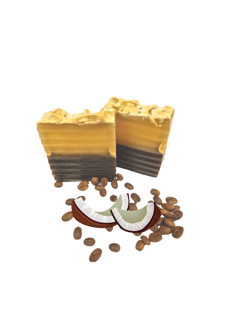 COFFEE & CCONUT SOAP BAR   Coffee & coconut soap contains antioxidants that are known to reduce the signs of aging. Antioxidants are also great for reducing inflammation, which may help with improving acne or other skin conditions.   Ingredients: Coffee, coconut Milk, Vitamin E, Honey, Oliv oil