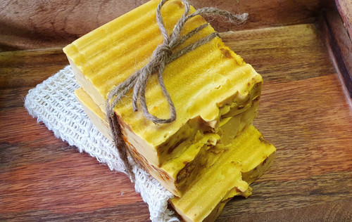 Turmeric Bar Soap ( combo) and free Exfoliate Natural Flax Soap Bag  For facial imperfections and skin lightening, acne Ingredients: Glycerine soap, turmeric powder, vitaminE, olive oil, honey, lemon and coconut oil