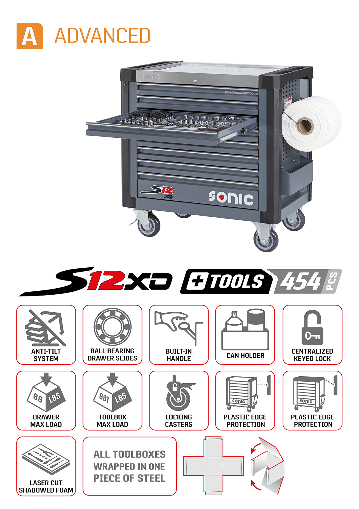 Sonic 454 piece advanced aviation toolbox