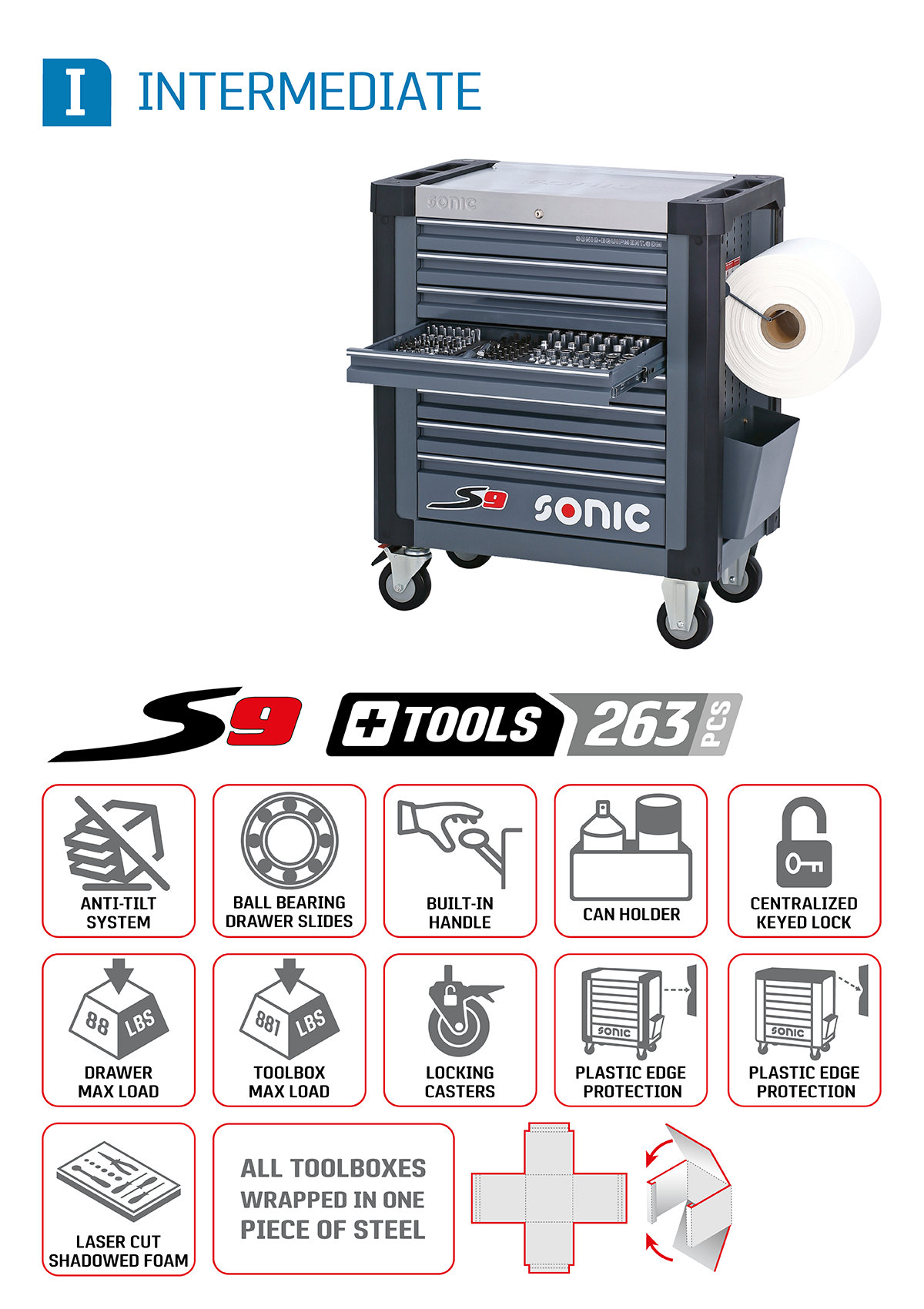 Sonic S9 + Tools 263 piece intermediate aviation toolbox