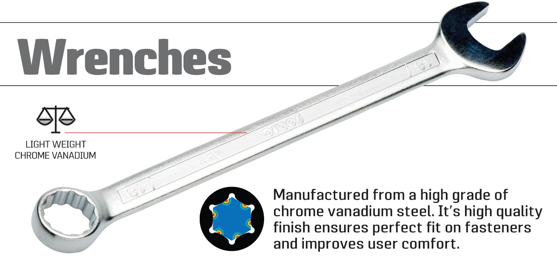 Sonic Wrenches made from high grade chrome vanadium steel