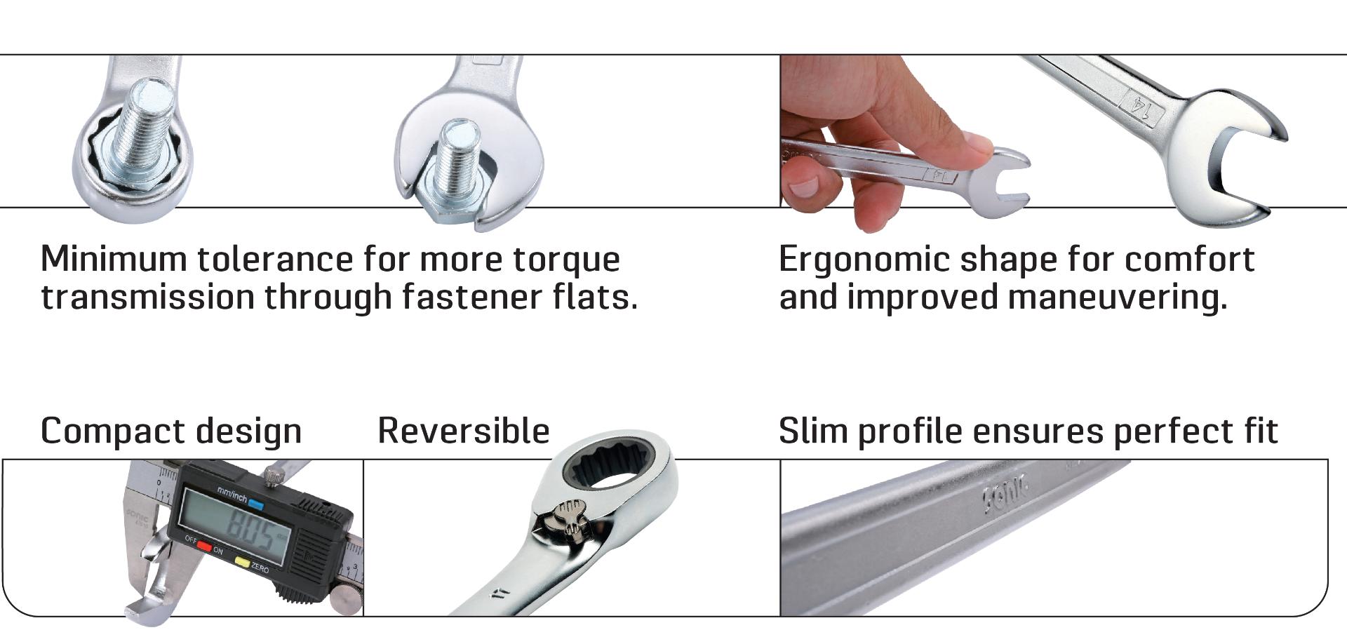 Compact design, slim profile, ergonomic design