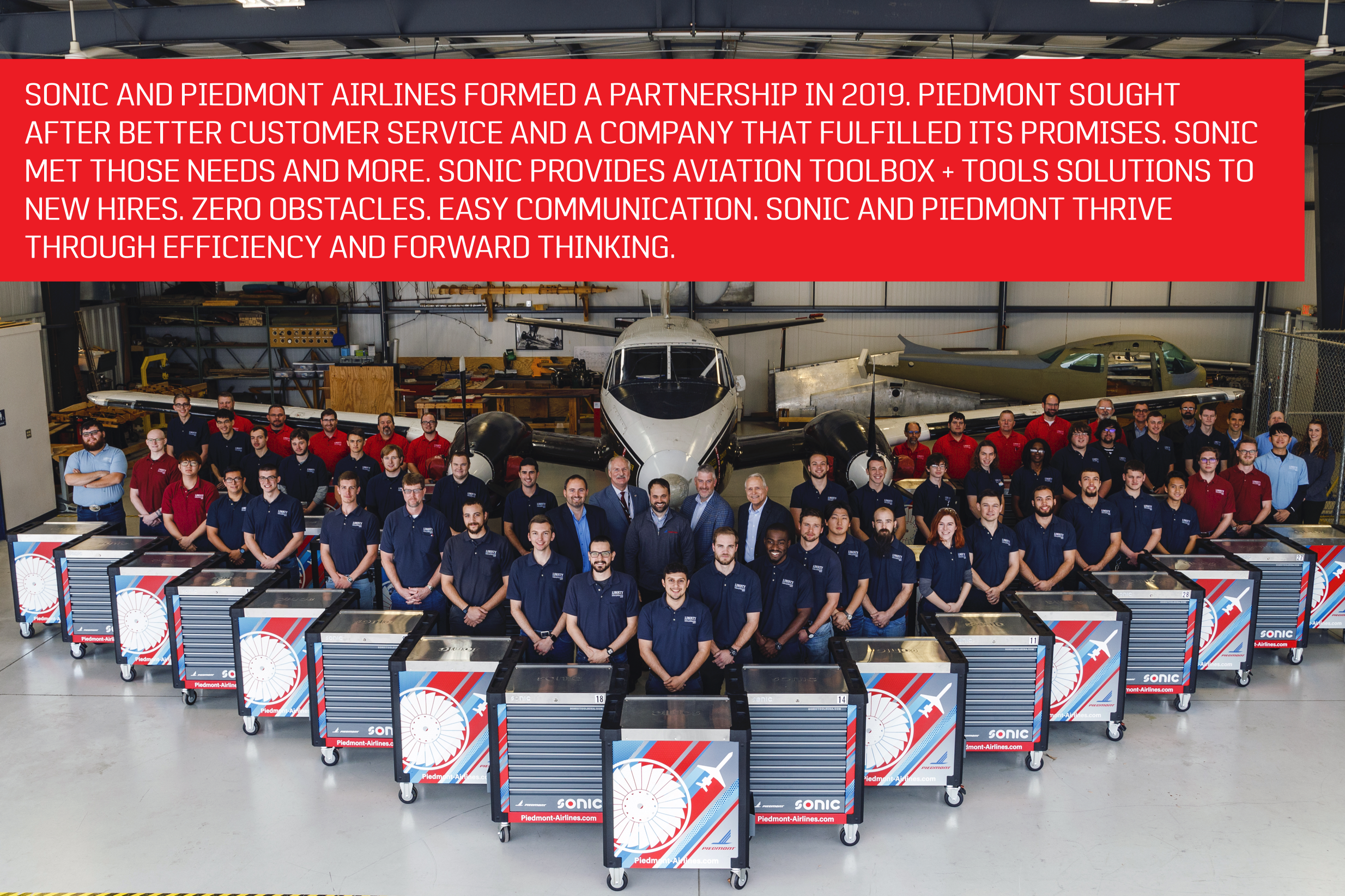 Sonic and Piedmont Airlines formed a partnership in 2019. Piedmont sought after better customer service and a company that fulfilled its promises. Sonic met those needs and more. Sonic provides aviation toolboxes and tool solutions to new hires. Zero obstacles. Easy communication. Sonic and Piedmont thrive through efficiency and forward thinking.