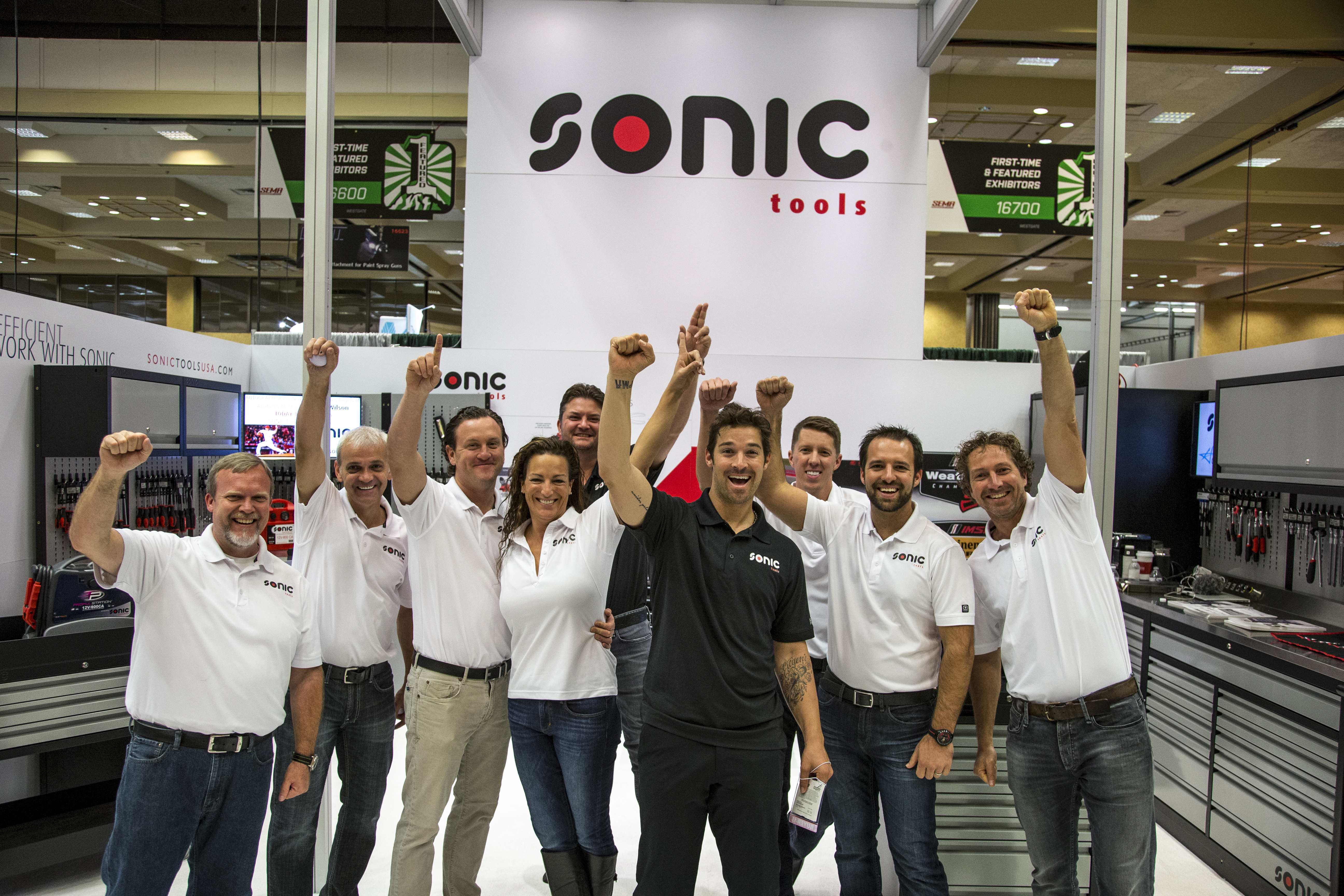 Sonic Team at SEMA with Sonic Cabinets and Toolboxes