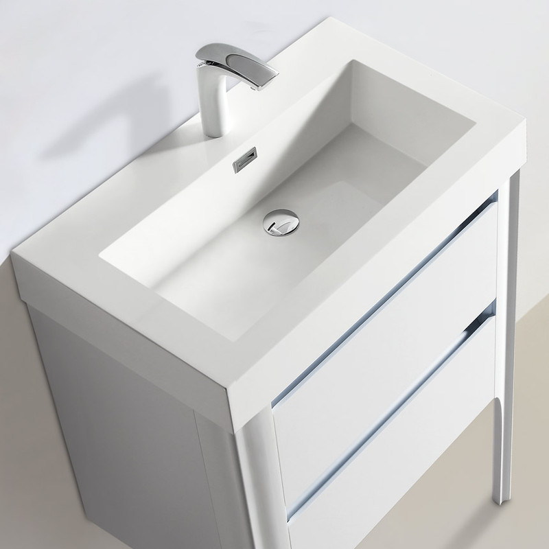 023 Series 24 Bathroom Vanity W Polymarble Basin Led Lit Drawers And Led Mirror Residential Baths