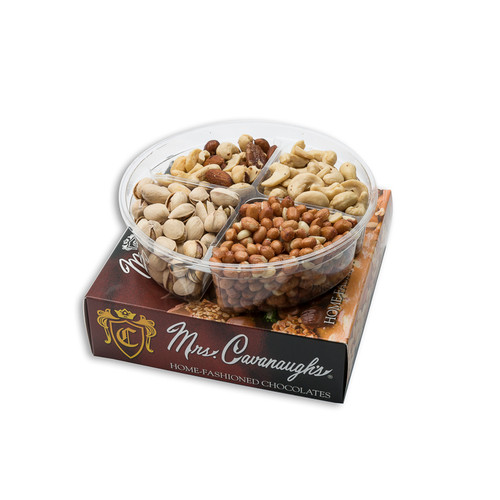 "The finest roasted blend of whole cashews, almonds, filberts, peanuts, pistachios, pecan halves and brazils makes this gift box a perfect way to say ""I care"" or simply to just say ""thanks."""