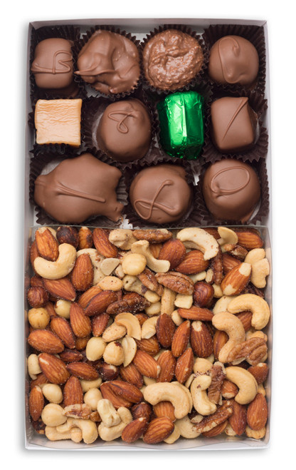 Give both gourmet chocolates and roasted nuts!  This simple idea has solved many decisions. A combination of our deluxe roasted nuts and our most popular  milk chocolates will send you in orbit.