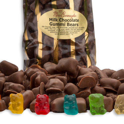 Milk chocolate covered gummi bears