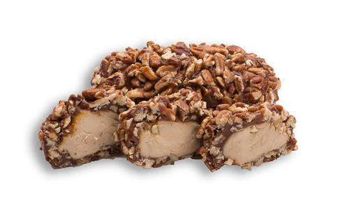 We take our hand-made Olympian cream, dip it in our famous gourmet caramel then quickly roll it in Pecan Pieces to create for you the best Pecan Log you've ever tasted.