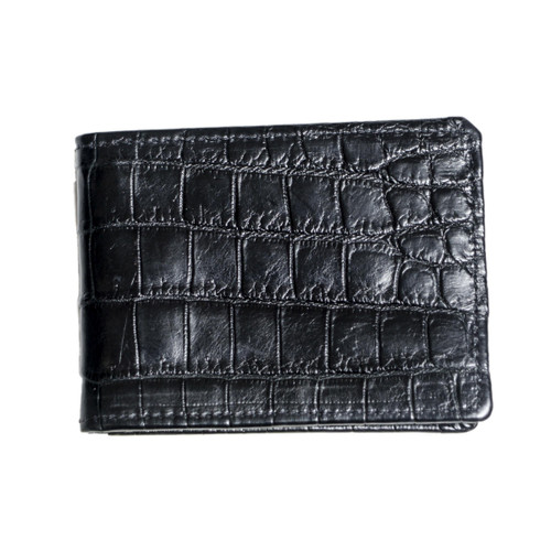 WALLET - ALLIGATOR SKIN - BLACK - BI-FOLD