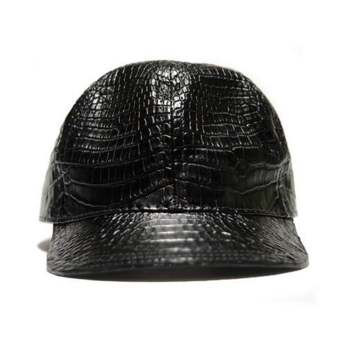 GENUINE ALLIGATOR SKIN CAP / HAT - BLACK