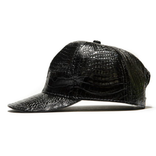 GENUINE ALLIGATOR SKIN CAP / HAT - BLACK