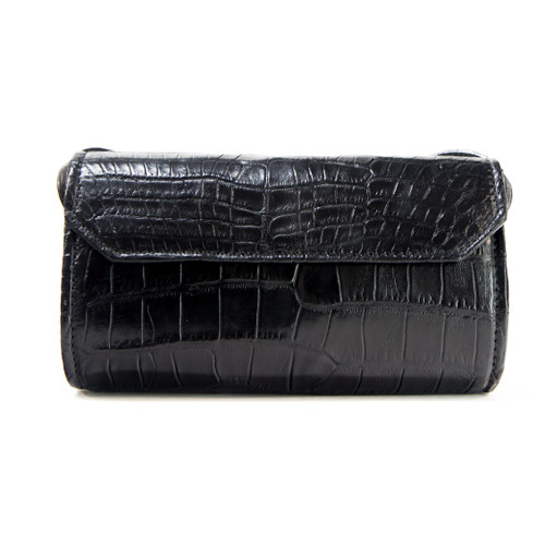 CROSS BODY ALLIGATOR SKIN HANDBAG - BLACK