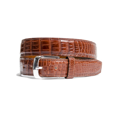 ALLIGATOR SKIN BELT - COGNAC - MATTE - ONE PIECE - 35mm